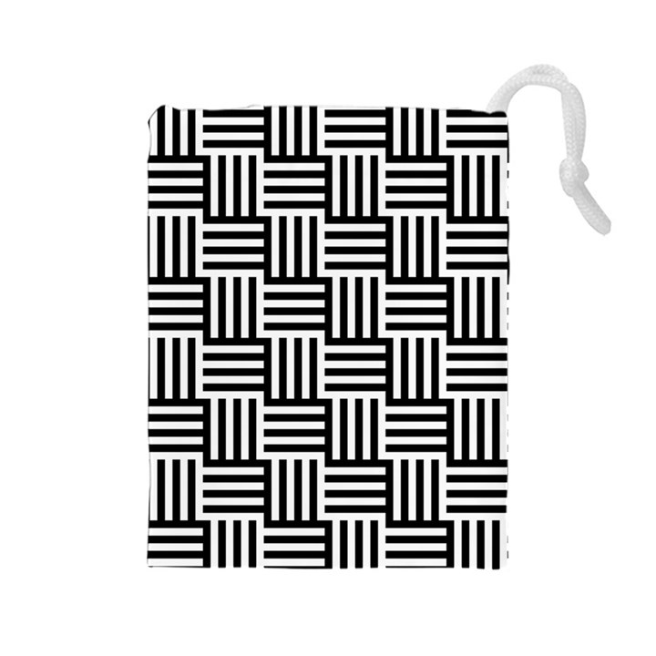 Black And White Basket Weave Drawstring Pouch (Large)