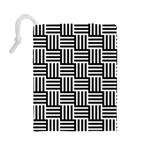 Black And White Basket Weave Drawstring Pouch (Large) Back