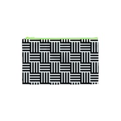 Black And White Basket Weave Cosmetic Bag (XS)