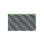 Black And White Basket Weave Cosmetic Bag (XS) Front