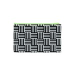 Black And White Basket Weave Cosmetic Bag (XS) Back