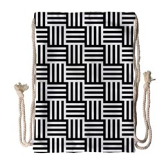 Black And White Basket Weave Drawstring Bag (large)