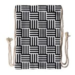 Black And White Basket Weave Drawstring Bag (Large) Front