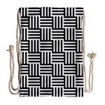 Black And White Basket Weave Drawstring Bag (Large) Back