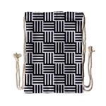 Black And White Basket Weave Drawstring Bag (Small) Front