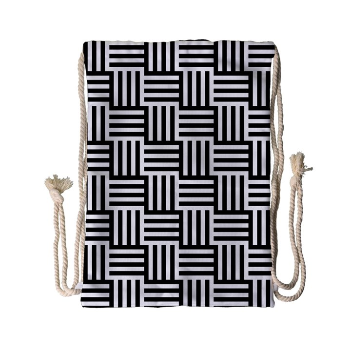 Black And White Basket Weave Drawstring Bag (Small)