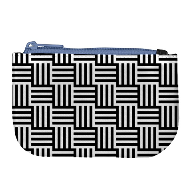 Black And White Basket Weave Large Coin Purse