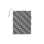 Black And White Basket Weave Drawstring Pouch (XS) Back
