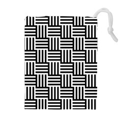 Black And White Basket Weave Drawstring Pouch (XL)