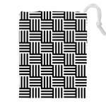 Black And White Basket Weave Drawstring Pouch (XXL) Front