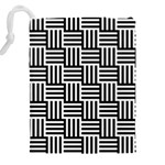 Black And White Basket Weave Drawstring Pouch (XXL) Back