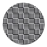 Black And White Basket Weave Round Mousepads Front
