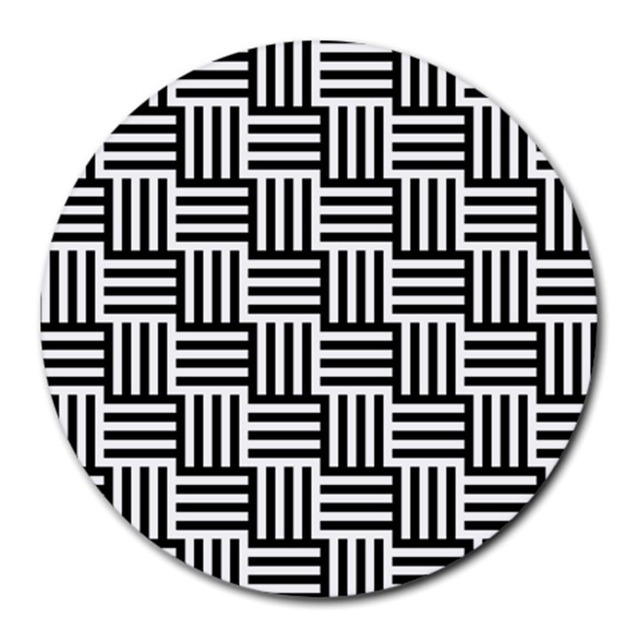 Black And White Basket Weave Round Mousepads