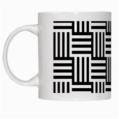 Black And White Basket Weave White Mugs