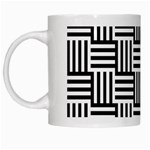 Black And White Basket Weave White Mugs Left
