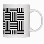 Black And White Basket Weave White Mugs Right