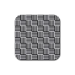 Black And White Basket Weave Rubber Square Coaster (4 pack)