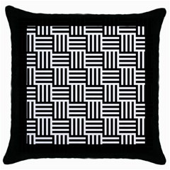 Black And White Basket Weave Throw Pillow Case (Black)