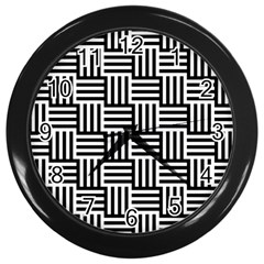 Black And White Basket Weave Wall Clock (Black)