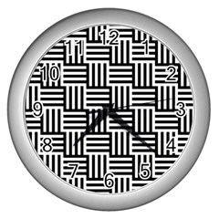 Black And White Basket Weave Wall Clock (Silver)