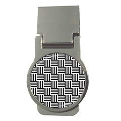 Black And White Basket Weave Money Clips (Round)