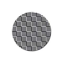 Black And White Basket Weave Rubber Round Coaster (4 pack)