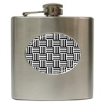 Black And White Basket Weave Hip Flask (6 oz) Front