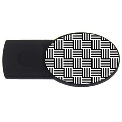 Black And White Basket Weave USB Flash Drive Oval (2 GB)