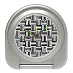 Black And White Basket Weave Travel Alarm Clock Front