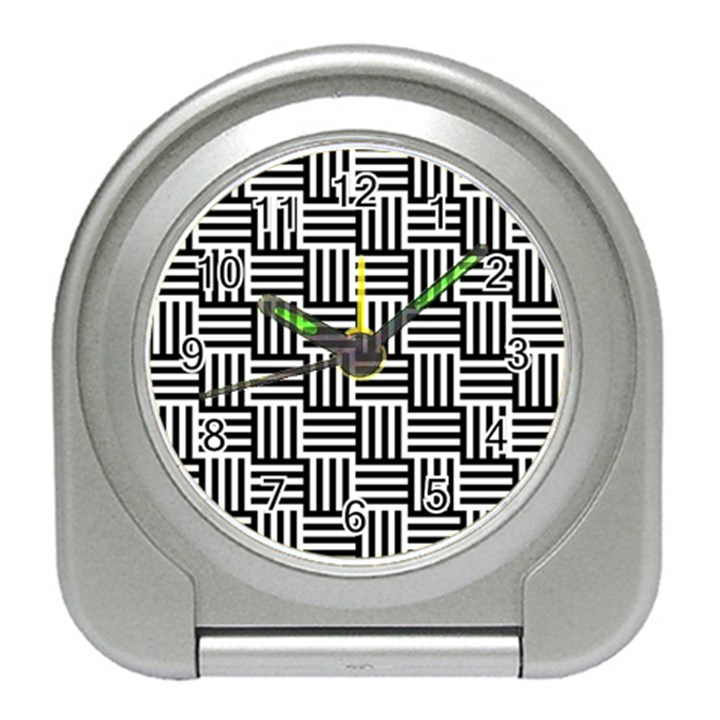 Black And White Basket Weave Travel Alarm Clock
