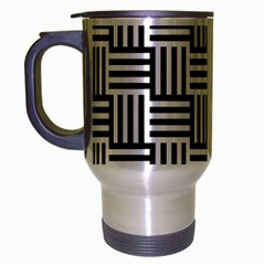 Black And White Basket Weave Travel Mug (Silver Gray)