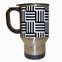 Black And White Basket Weave Travel Mugs (white) by retrotoomoderndesigns