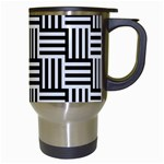 Black And White Basket Weave Travel Mugs (White) Right