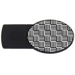 Black And White Basket Weave USB Flash Drive Oval (4 GB) Front