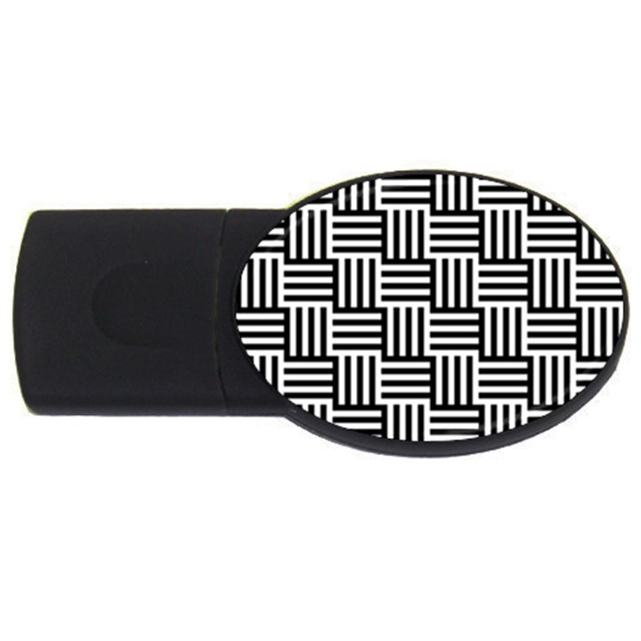 Black And White Basket Weave USB Flash Drive Oval (4 GB)