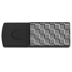 Black And White Basket Weave Rectangular USB Flash Drive
