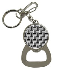 Black And White Basket Weave Bottle Opener Key Chains