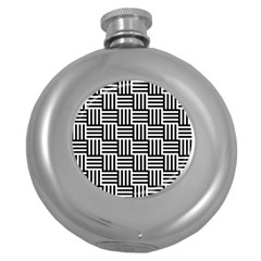 Black And White Basket Weave Round Hip Flask (5 oz)
