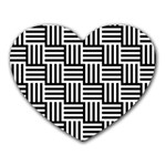 Black And White Basket Weave Heart Mousepads Front