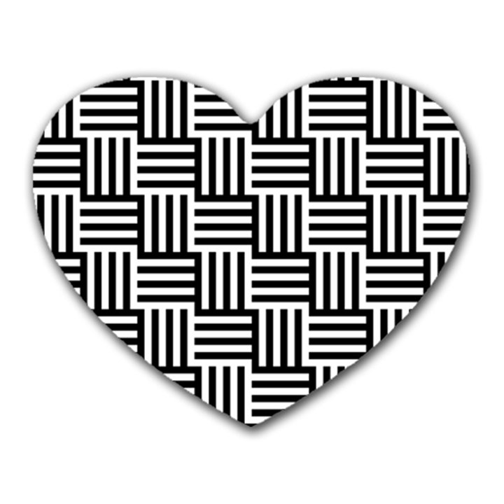 Black And White Basket Weave Heart Mousepads