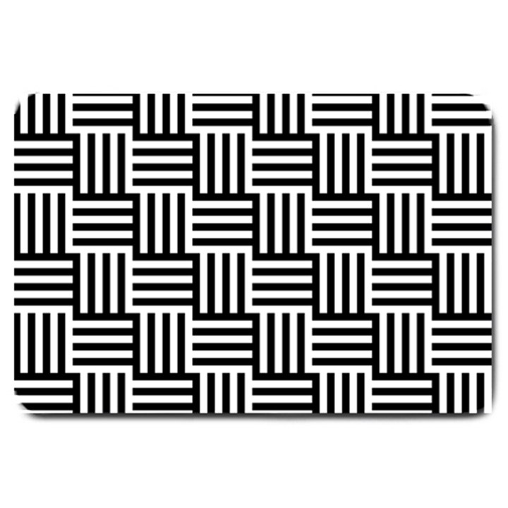 Black And White Basket Weave Large Doormat