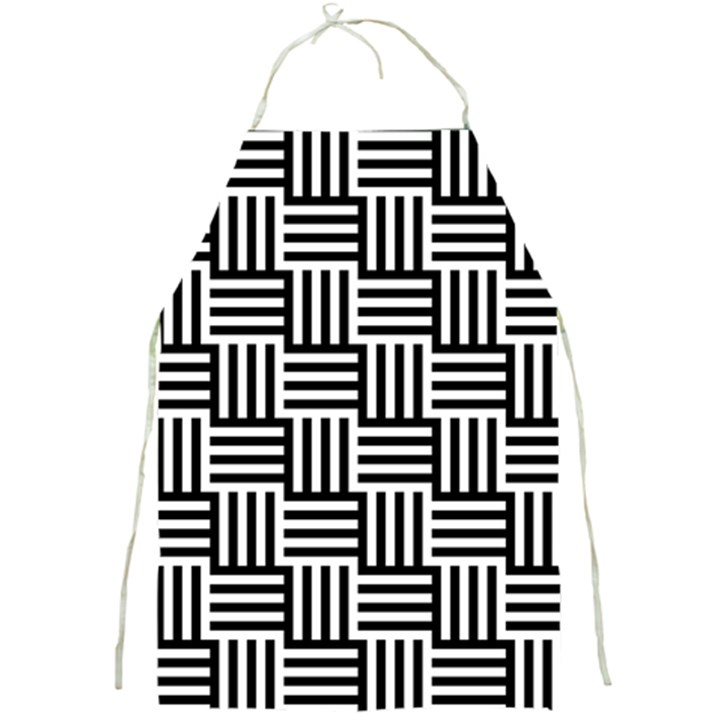 Black And White Basket Weave Full Print Aprons