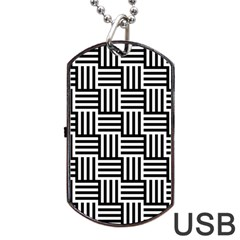 Black And White Basket Weave Dog Tag USB Flash (One Side)