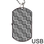 Black And White Basket Weave Dog Tag USB Flash (Two Sides) Front