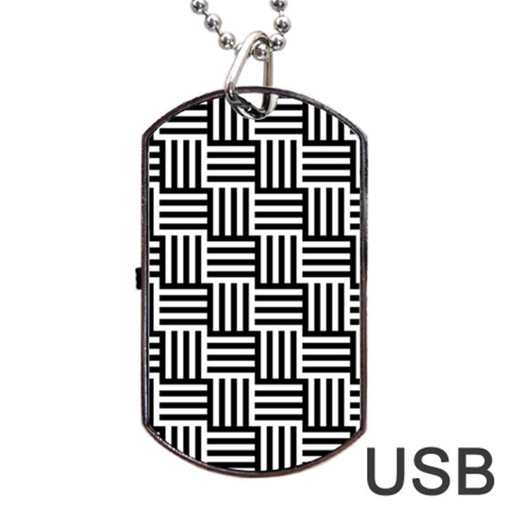 Black And White Basket Weave Dog Tag USB Flash (Two Sides)