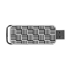 Black And White Basket Weave Portable USB Flash (One Side)
