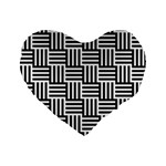 Black And White Basket Weave Standard 16  Premium Heart Shape Cushions Front