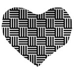 Black And White Basket Weave Large 19  Premium Heart Shape Cushions Front