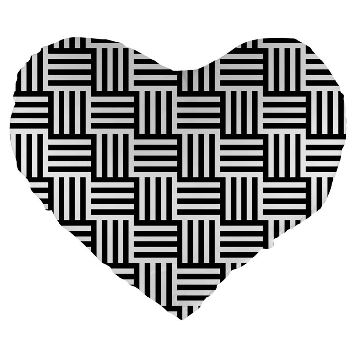 Black And White Basket Weave Large 19  Premium Heart Shape Cushions