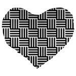Black And White Basket Weave Large 19  Premium Heart Shape Cushions Back